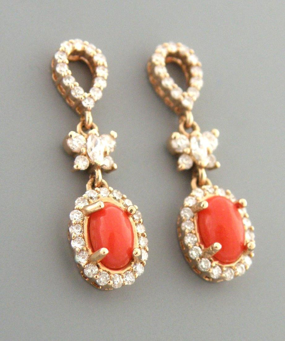 NEW 14K ROSE GOLD DIAMOND CORAL BUTTERFLY EARRINGS