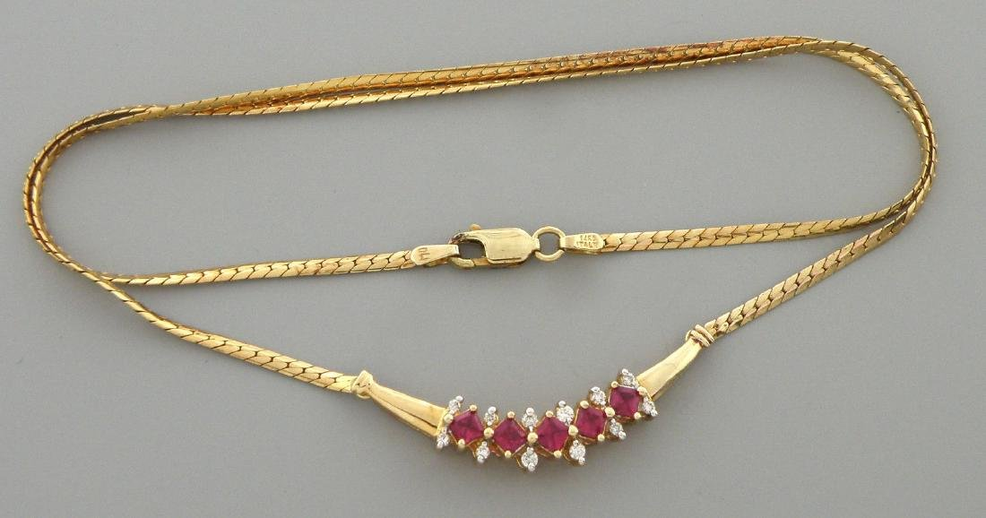 VINTAGE 14K GOLD PRINCESS CUT RUBIES DIAMOND NECKLACE