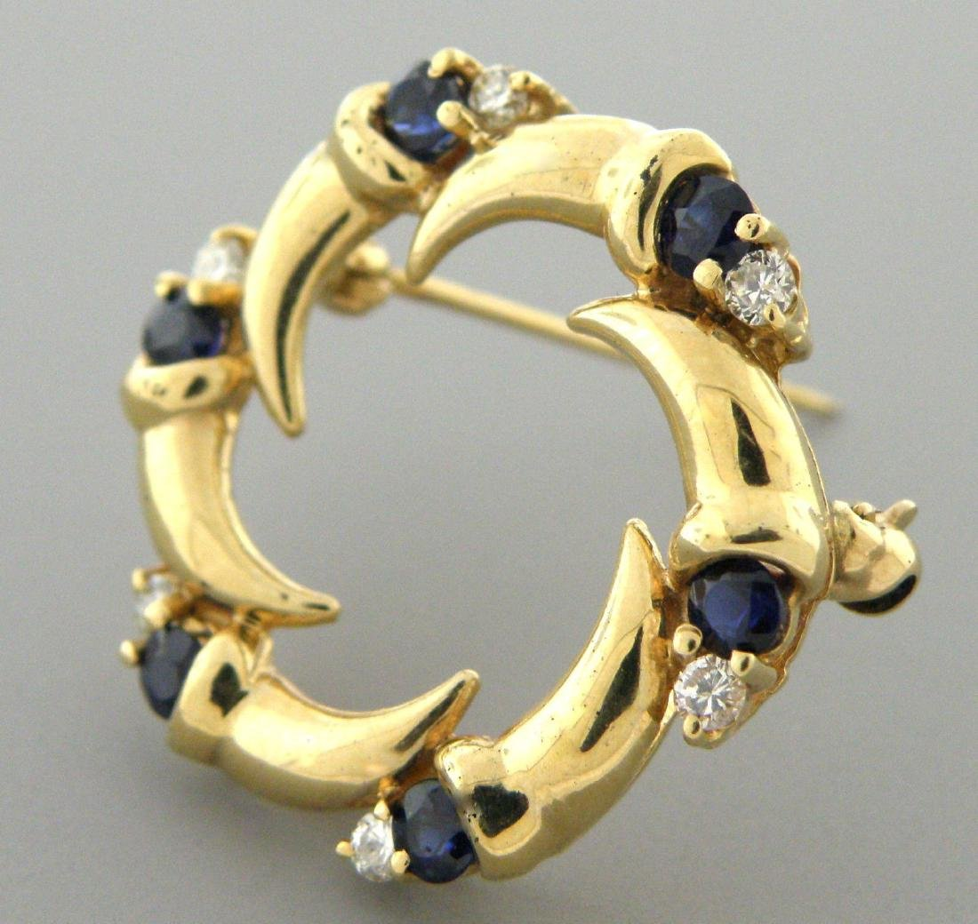 VINTAGE 14K GOLD DIAMOND SAPPHIRE CIRCLE BROOCH PIN