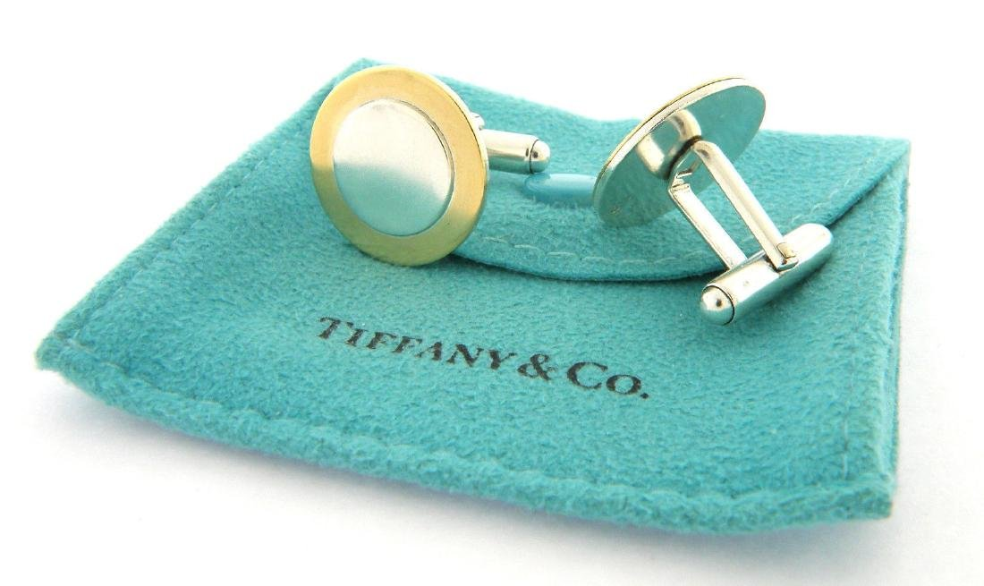 TIFFANY & Co. 18K GOLD STERLING SILVER CIRCLE CUFFLINKS