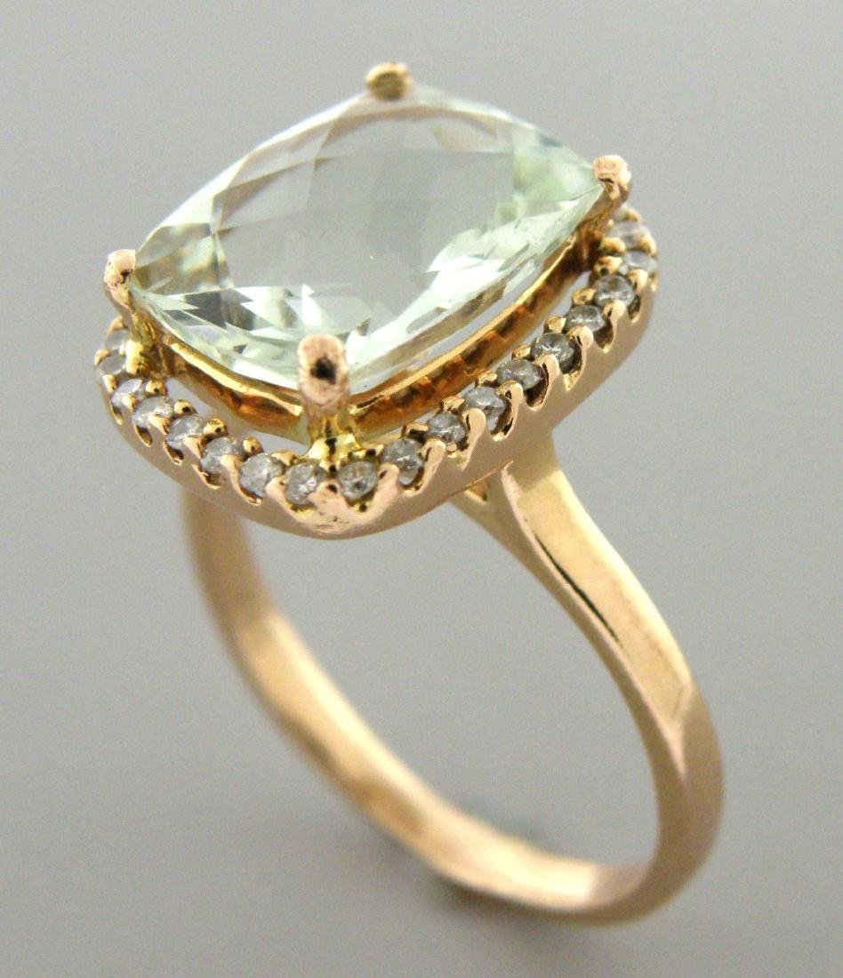 14K ROSE GOLD GREEN AMETHYST & DIAMOND HALO RING
