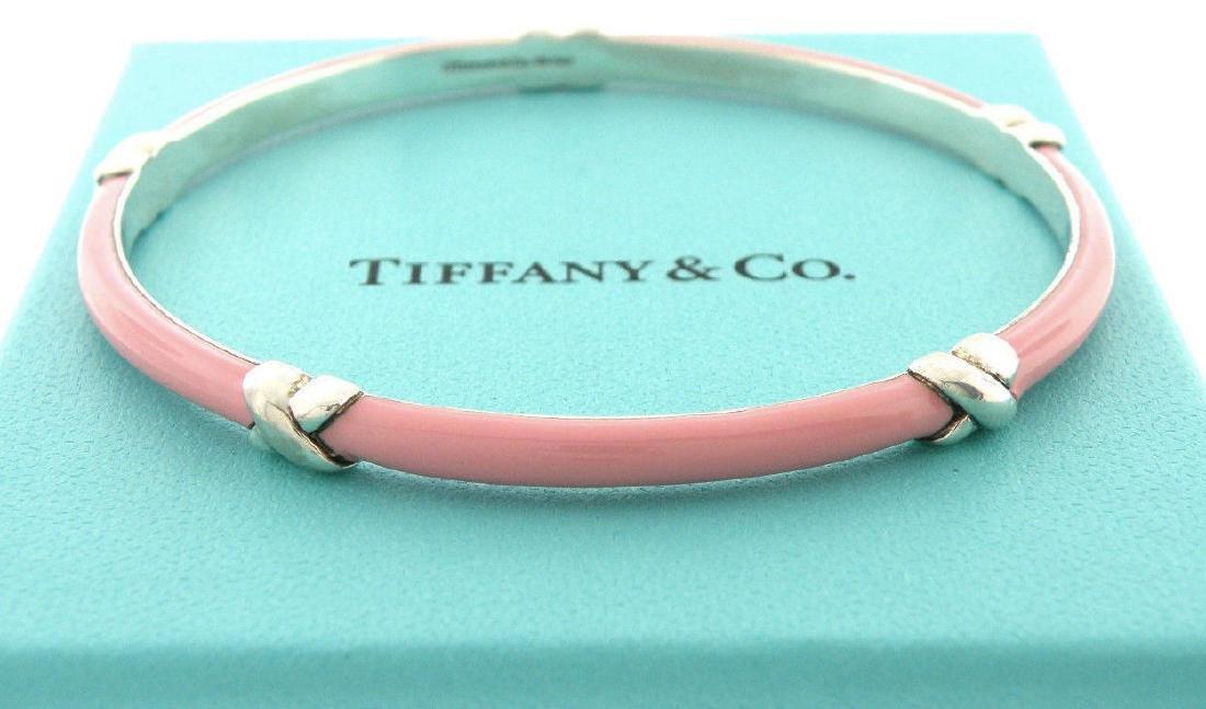 TIFFANY & Co. STERLING SILVER PINK ENAMEL X BANGLE