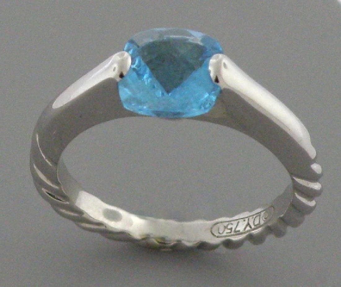DAVID YURMAN SOLID 18K WHITE GOLD BLUE TOPAZ RING