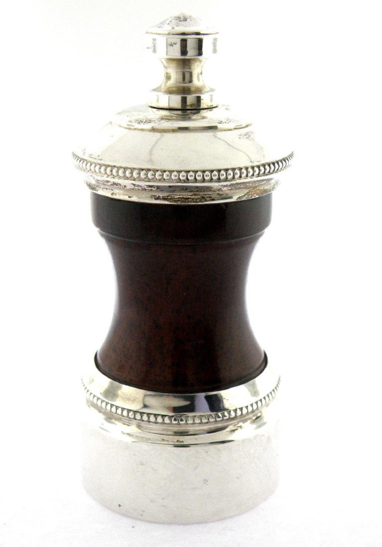 VINTAGE CARTIER STERLING SILVER & WOOD PEPPER MILL RARE