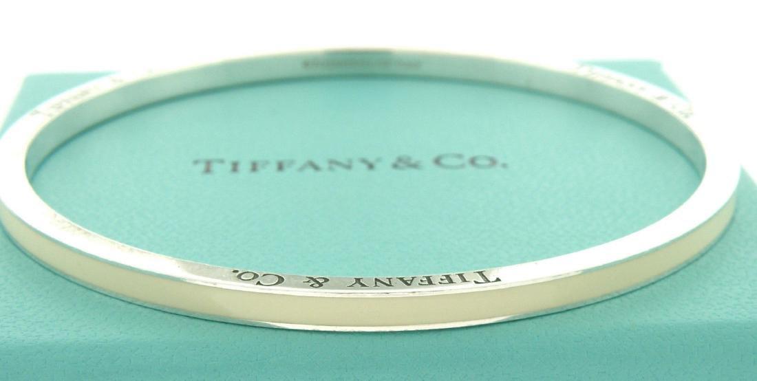 TIFFANY & Co. STERLING WHITE ENAMEL STRIPED BANGLE