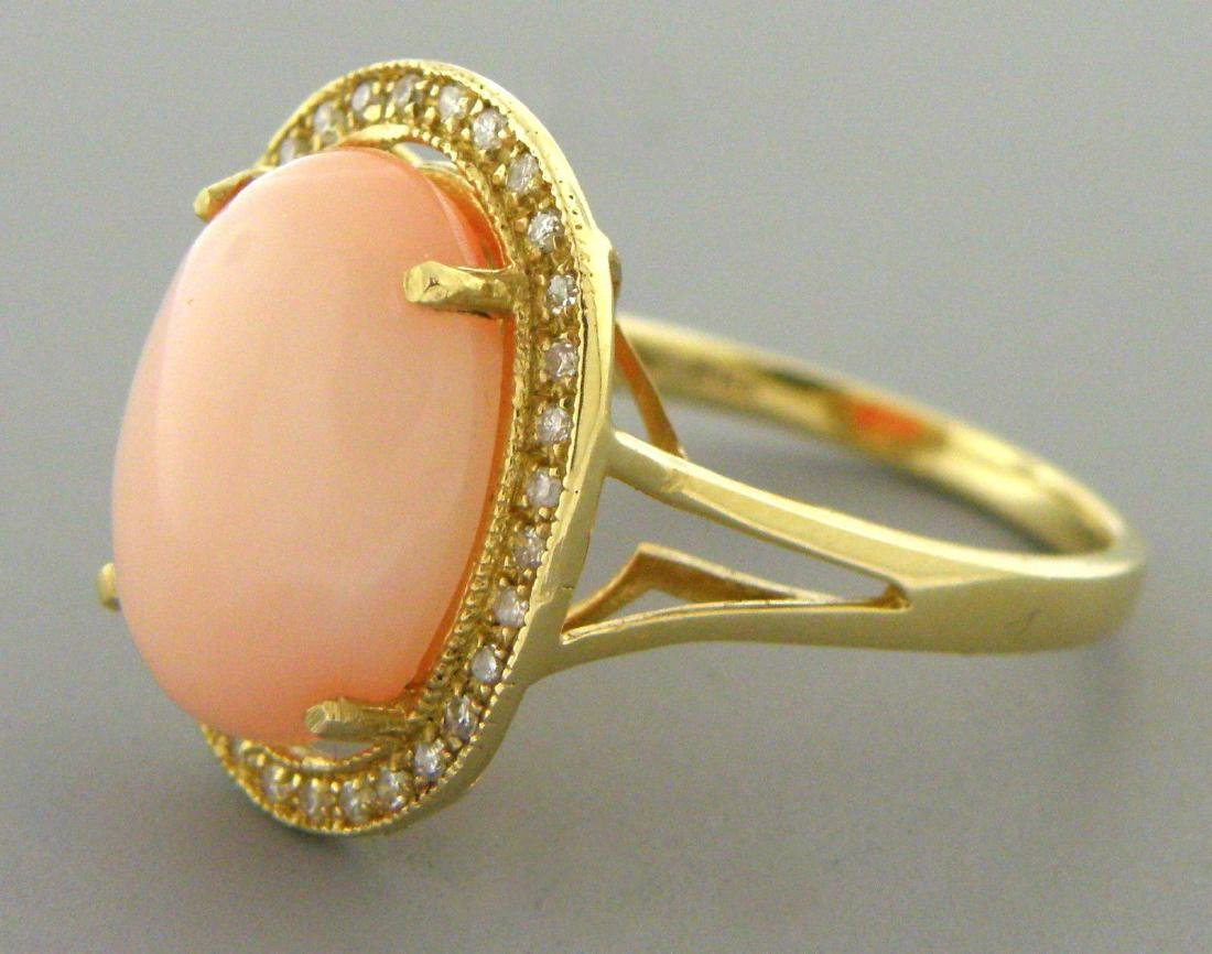 NEW 14K GOLD UNTREATED PINK SEA CORAL DIAMOND RING