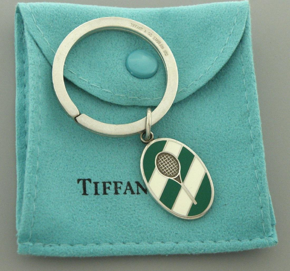 TIFFANY & Co. STERLING SILVER ENAMEL TENNIS KEYRING