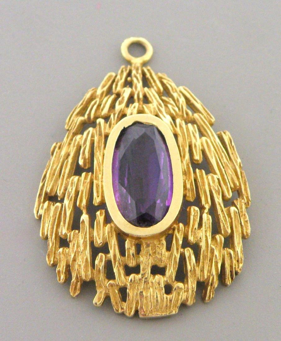 VINTAGE 14K YELLOW GOLD OVAL AMETHYST GEMSTONE PENDANT