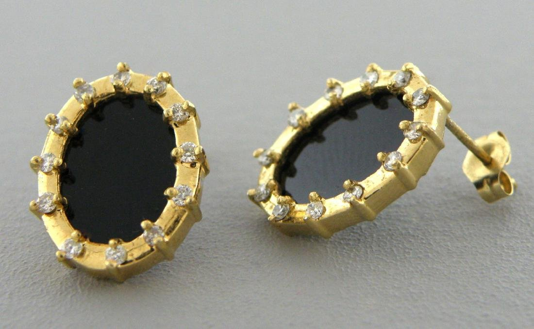 VINTAGE 14K YELLOW GOLD DIAMOND ONYX OVAL EARRINGS