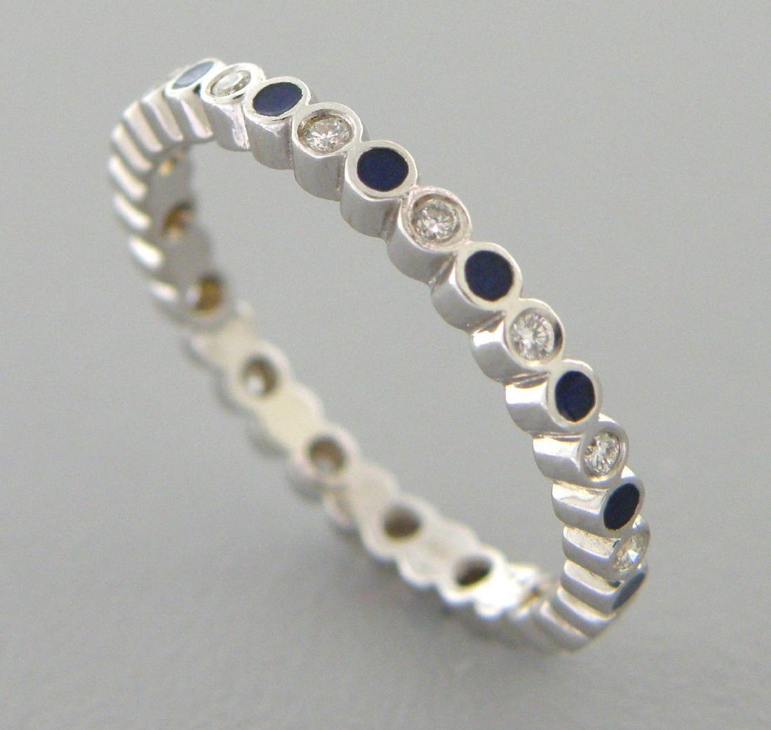 18K WHITE GOLD FULL ETERNITY DIAMOND BLUE ENAMEL RING
