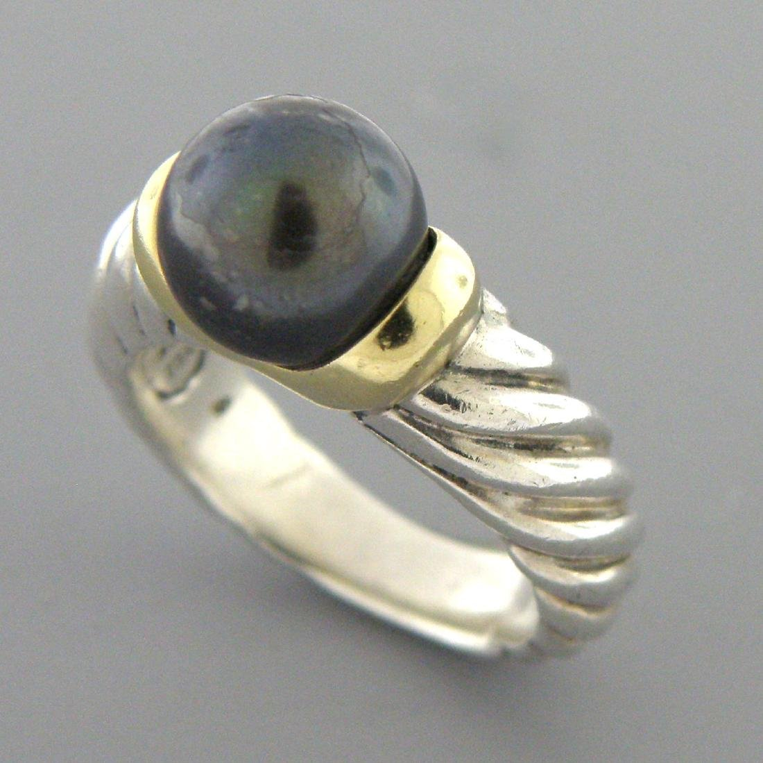 DAVID YURMAN 18K GOLD STERLING SILVER BLACK PEARL RING