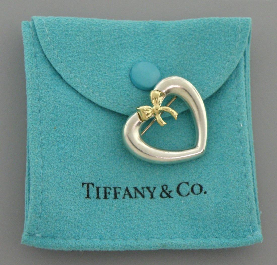 TIFFANY & Co. 18K STERLING SILVER HEART BOW PIN BROOCH