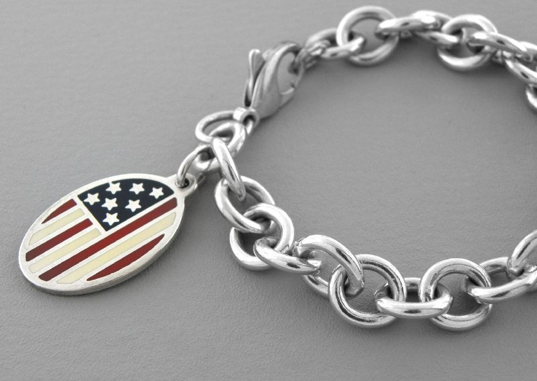 TIFFANY & Co. STERLING SILVER ENAMEL FLAG BRACELET