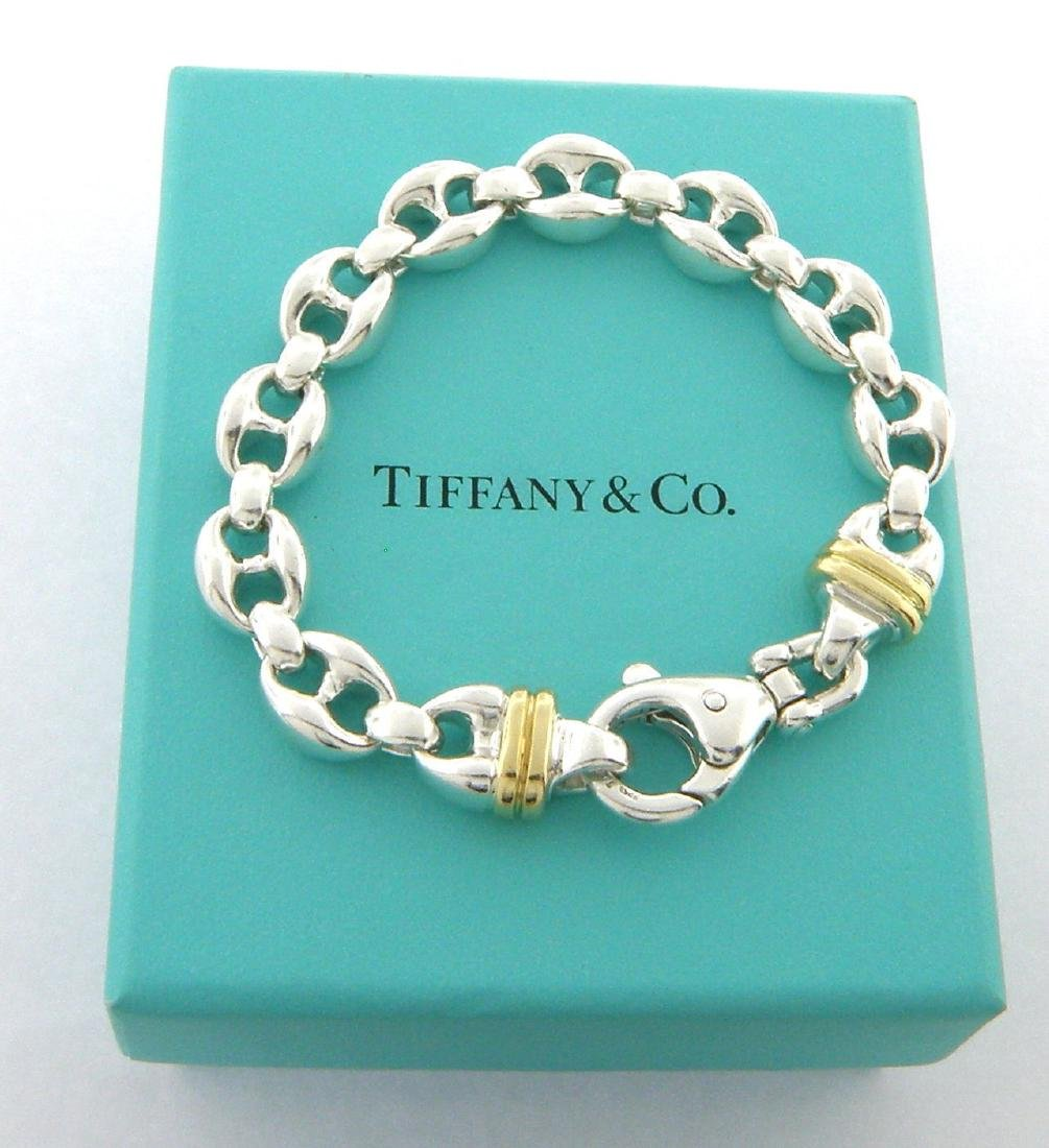 TIFFANY & Co. 18K STERLING SILVER ANCHOR LINKS BRACELET