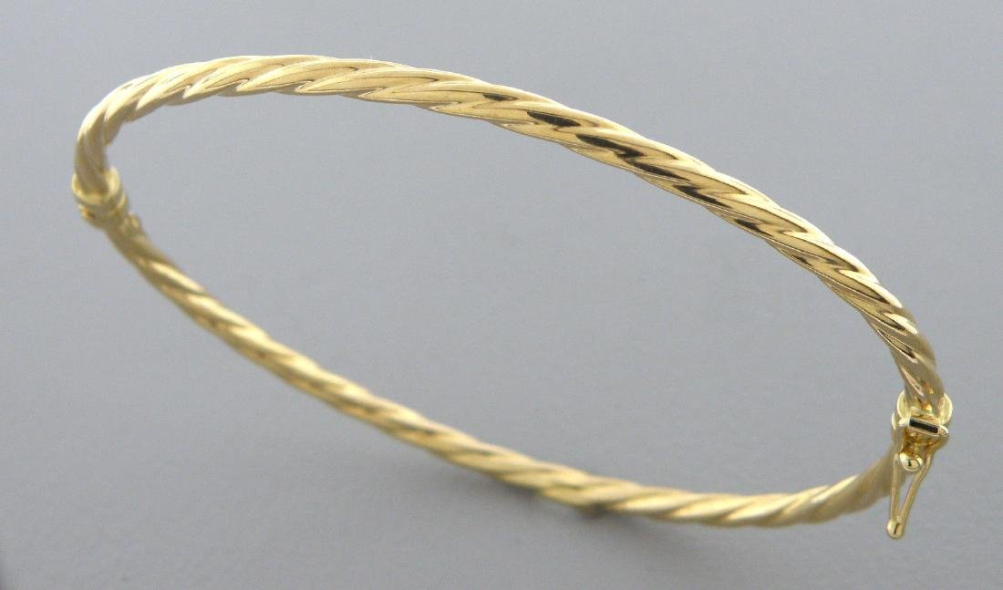 NEW 14K YELLOW GOLD LADIES TWIST ROPE BANGLE BRACELET