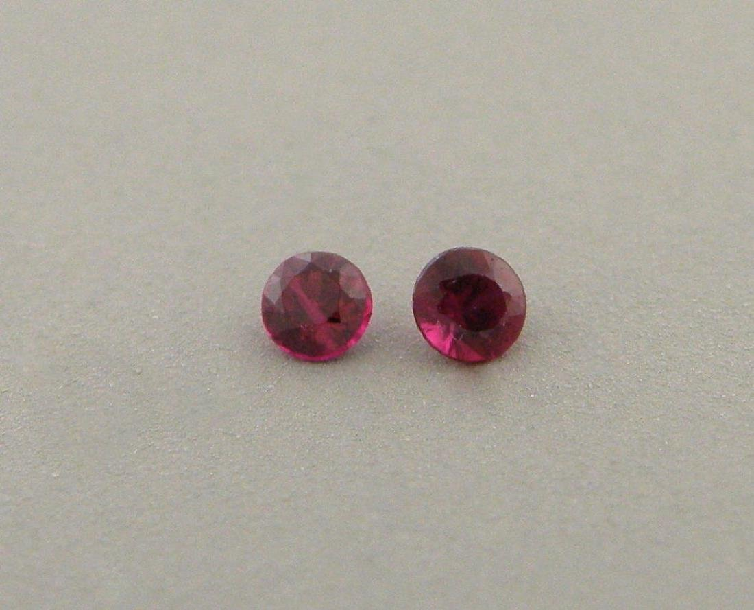 2.4mm ROUND CUT MATCHING PAIR LOOSE NATURAL RUBY