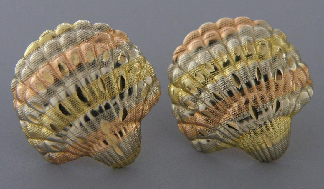 VINTAGE 14K TRI COLOR GOLD GOLD SEA SHELL EARRINGS