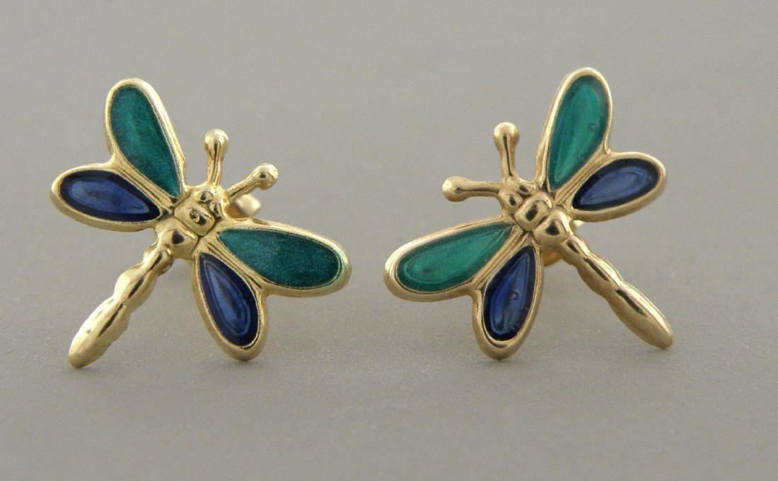 14K YELLOW GOLD ENAMEL DRAGONFLY EARRINGS BLUE GREEN