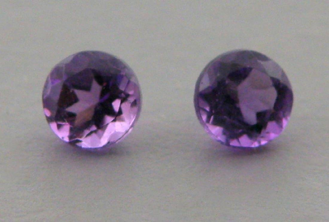 10mm MATCHING PAIR ROUND CUT NATURAL PURPLE AMETHYST