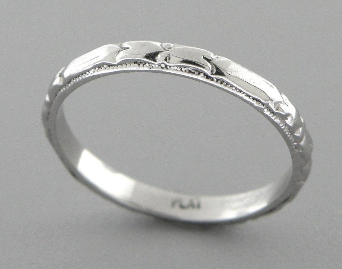 PLATINUM RING FULL ETERNITY FLOWER WEDDING BAND