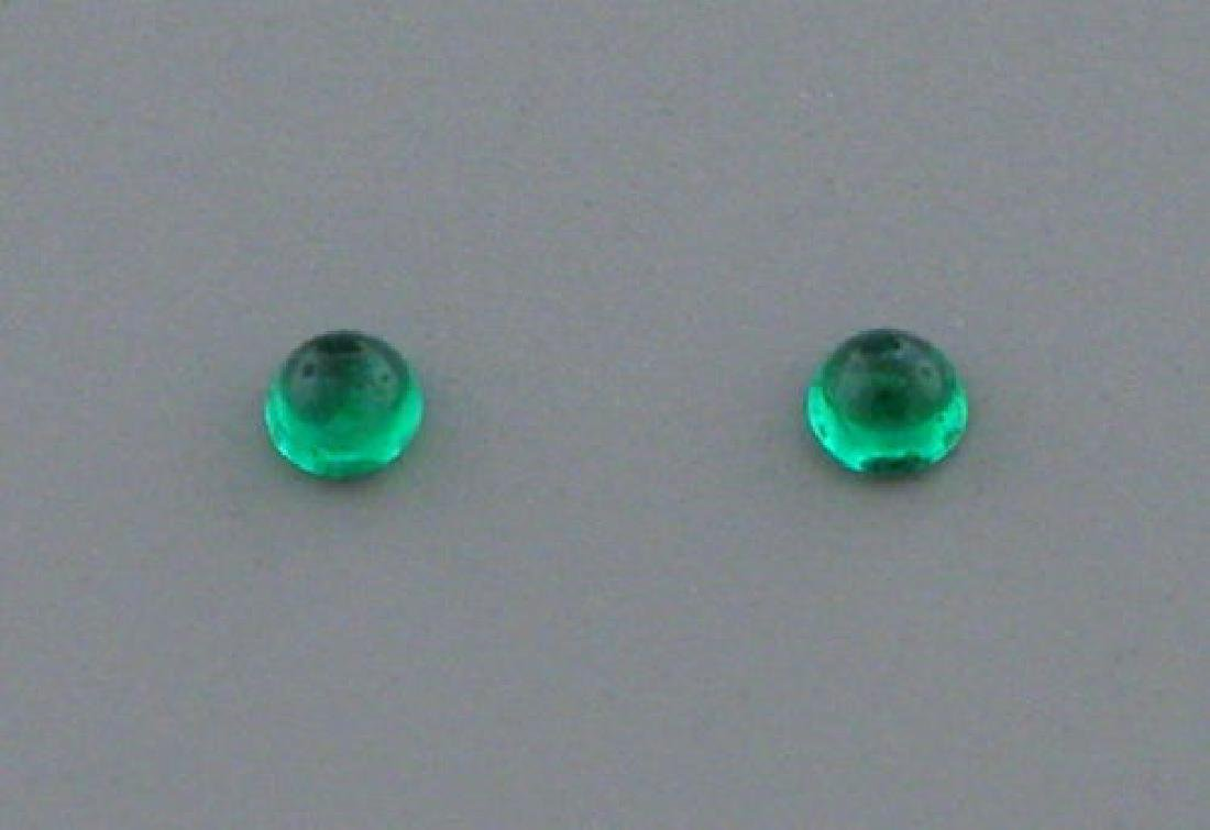 2mm ROUND MATCHING PAIR CABOCHON COLOMBIAN EMERALD