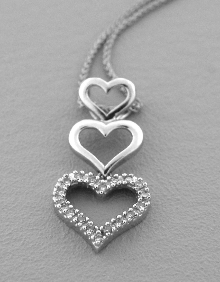 14K W/ GOLD DIAMOND TRIPLE HEART DANGLE DROP NECKLACE
