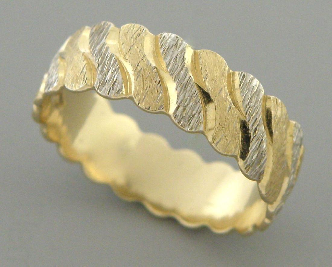 VINTAGE 14K MULTI COLOR GOLD RING FULL ETERNITY BAND