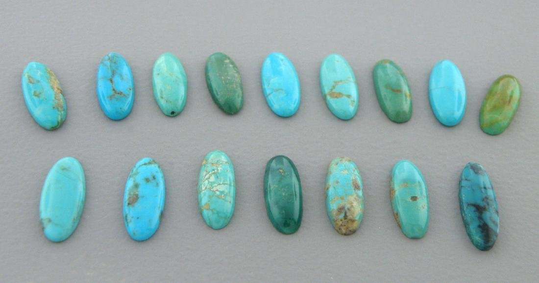 LOT NATURAL UNTREATED TURQUOISE OVAL CABOCHON 31ct