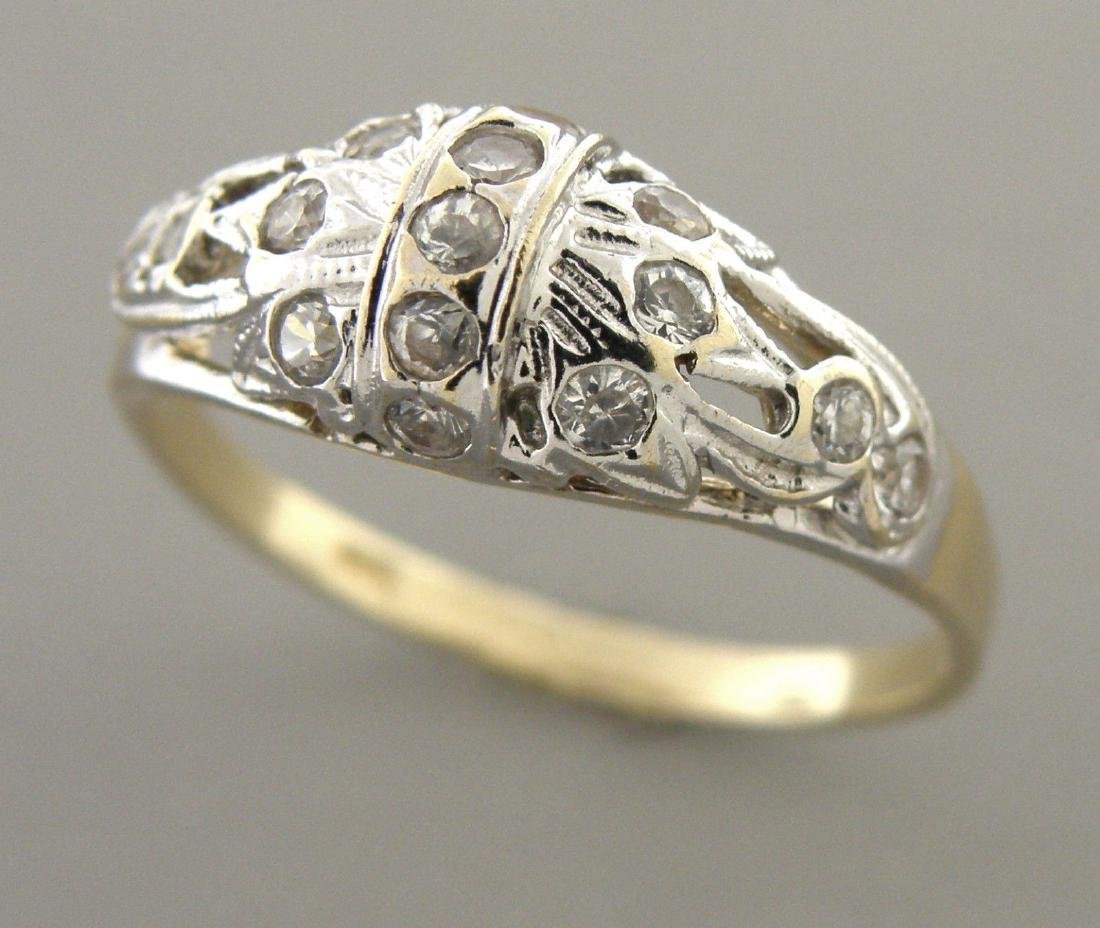 VINTAGE 14K TWO TONE GOLD 0.45ct DIAMOND COCKTAIL RING