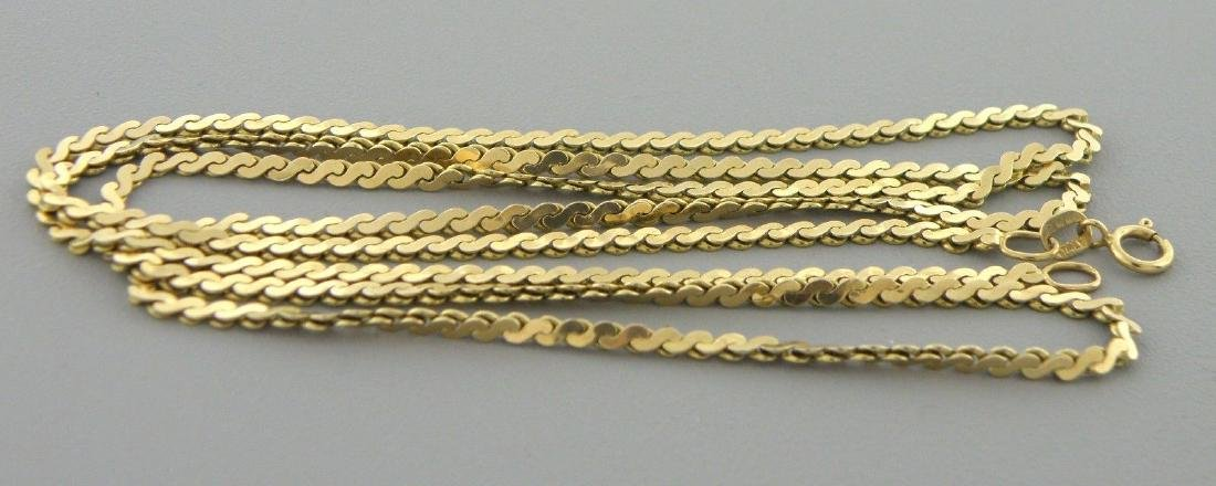 """VINTAGE 14K YELLOW GOLD S LINK, 25"""" NECKLACE CHAIN 8.1g"""
