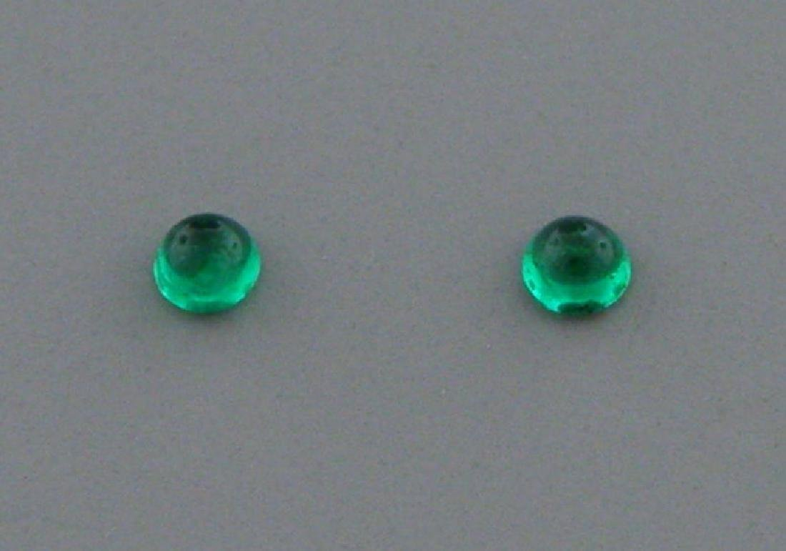 3mm ROUND MATCHING PAIR CABOCHON COLOMBIAN EMERALD
