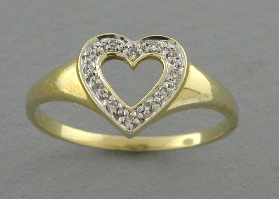 14K YELLOW GOLD DIAMOND HEART GIRLS LADIES RING