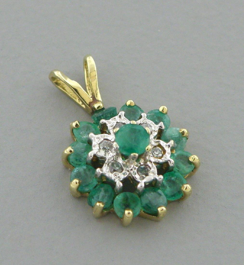 VINTAGE 10K YELLOW GOLD DIAMOND EMERALD FLOWER PENDANT