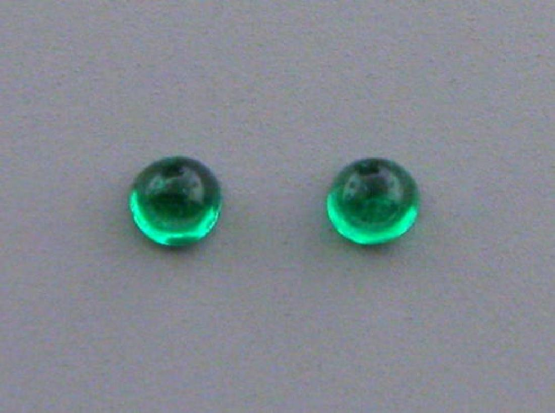 2.2mm ROUND MATCHING PAIR CABOCHON NATURAL EMERALD