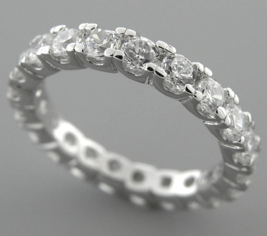 NEW STERLING SILVER CZ FULL ETERNITY WEDDING BAND RING