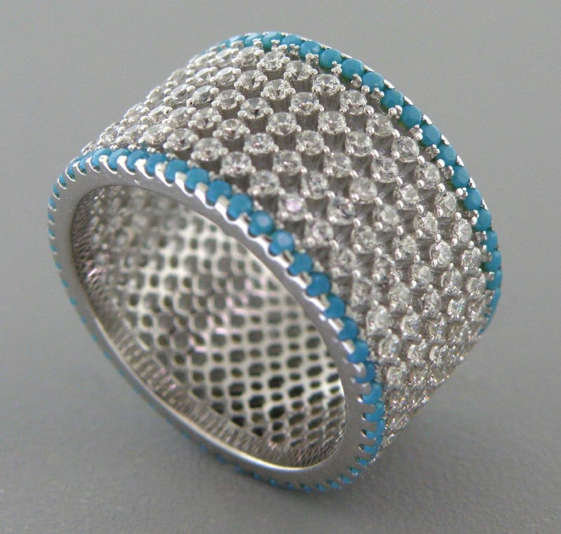 NEW STERLING SILVER CZ ETERNITY WIDE TURQUOISE RING