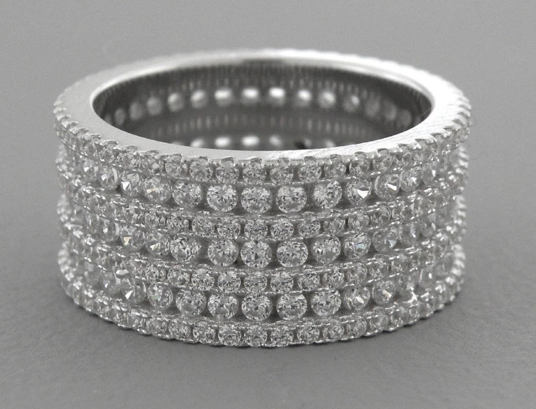 NEW STERLING SILVER PAVE CZ FULL ETERNITY WIDE RING