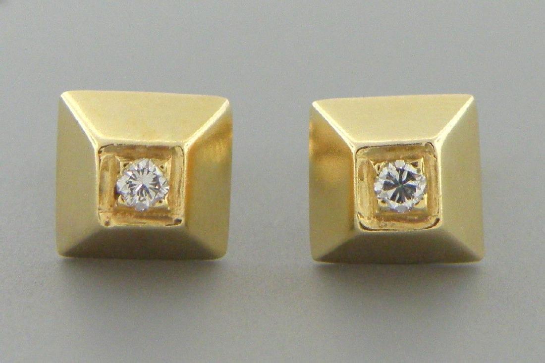 DECO 14K YELLOW GOLD PYRAMID DESIGN DIAMOND EARRINGS