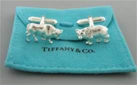 TIFFANY  Co SILVER BULL BEAR STOCK MARKET CUFFLINKS