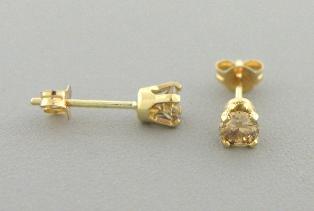 14K YELLOW GOLD CHAMPAGNE DIAMOND STUD EARRINGS 0.25ct