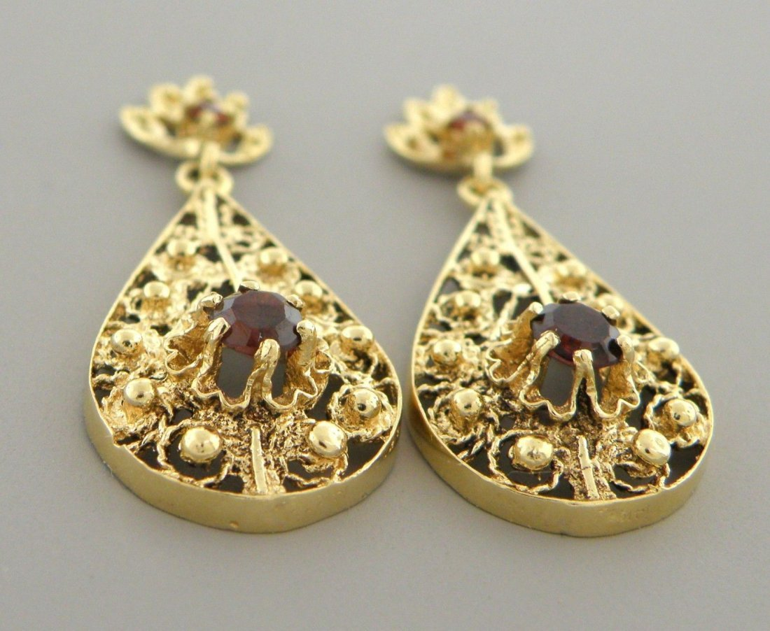 VINTAGE 14K YELLOW GOLD GARNET DANGLE DROP EARRINGS