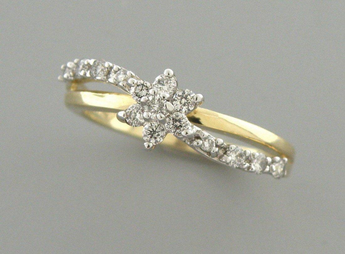 14K YELLOW GOLD DIAMOND FLOWER GIRLS LADIES RING 0.30CT - 2