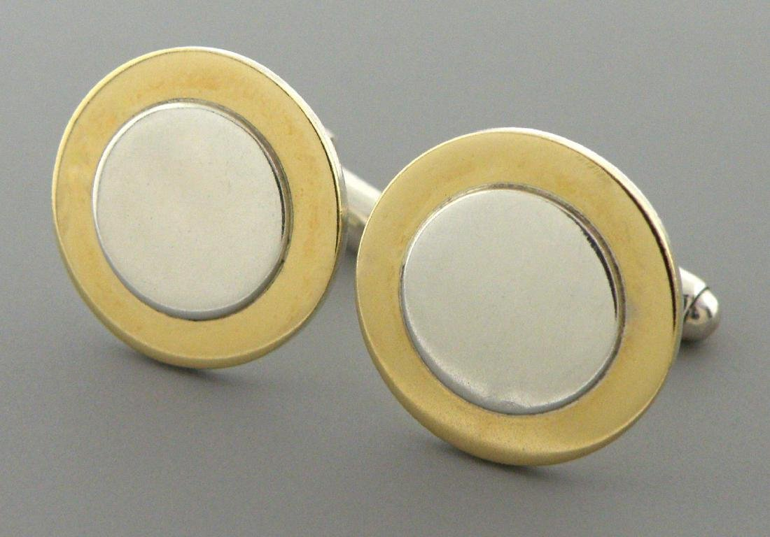 TIFFANY & Co. 18K GOLD STERLING SILVER CIRCLE CUFFLINKS - 2