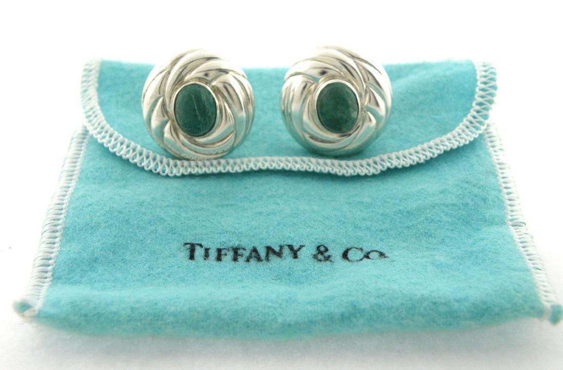 VINTAGE TIFFANY & Co. STERLING SILVER MALACHITE EARRING