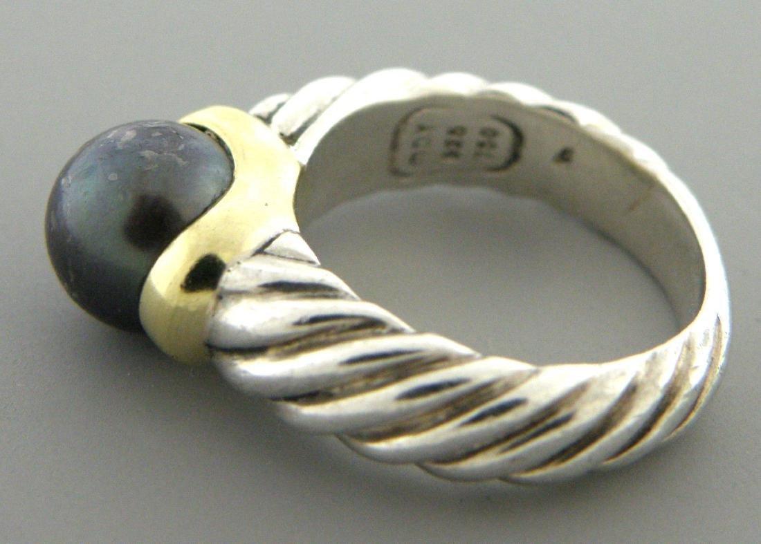 DAVID YURMAN 18K GOLD STERLING SILVER BLACK PEARL RING - 2