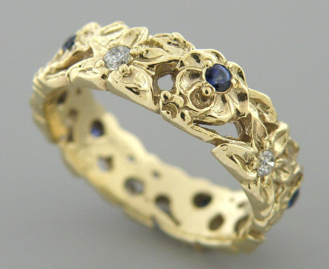 VINTAGE 14K GOLD DIAMOND SAPPHIRE RING WEDDING BAND - 2
