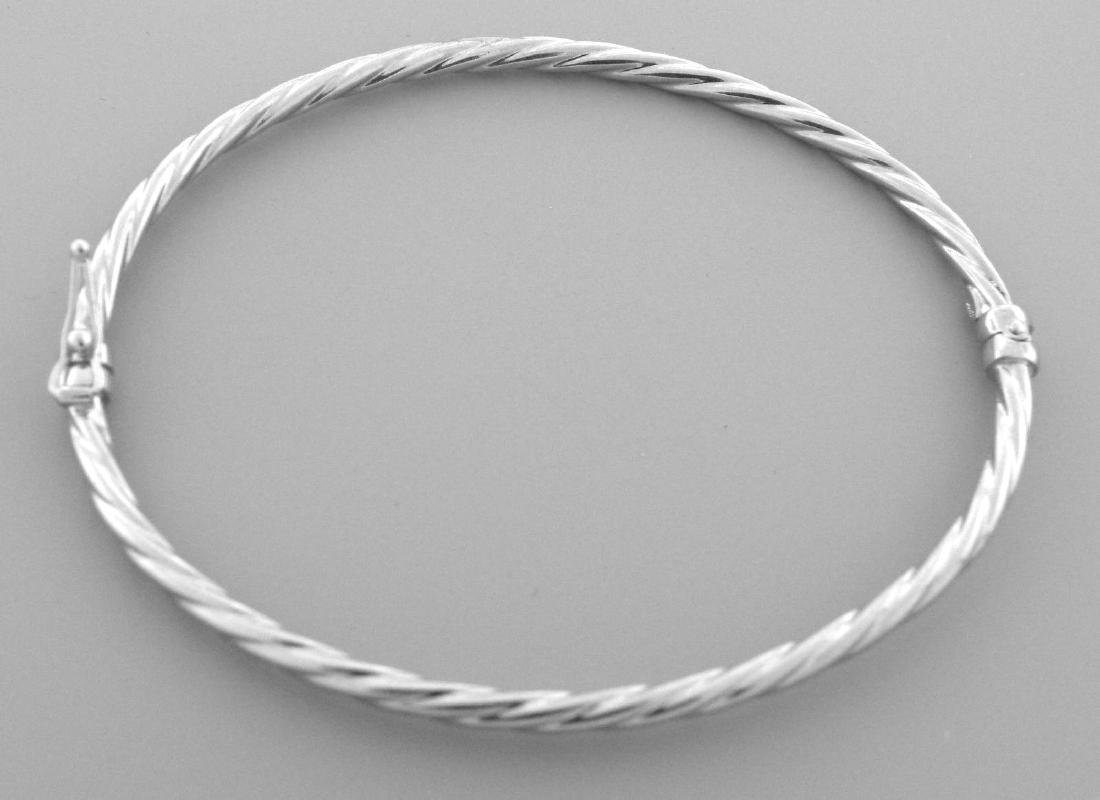 NEW 14K WHITE GOLD LADIES TWIST ROPE BANGLE BRACELET - 2