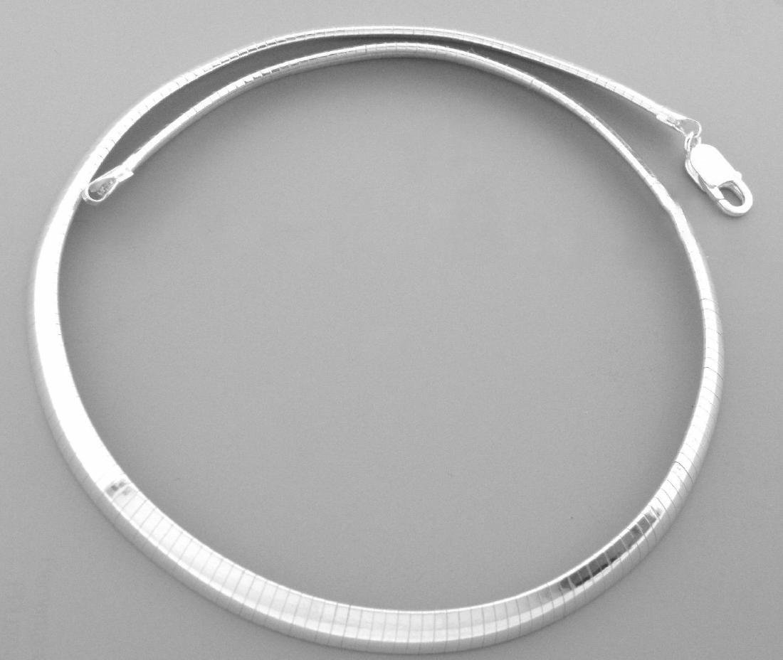 "STERLING SILVER HEAVY OMEGA CHOKER NECKLACE 8MM 18"" - 2"