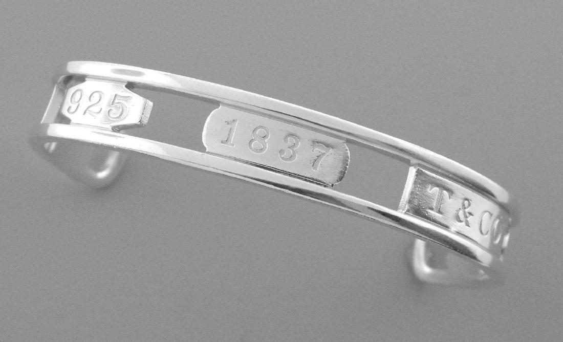 TIFFANY & Co. STERLING SILVER 1837 CUTOUT CUFF BANGLE - 2
