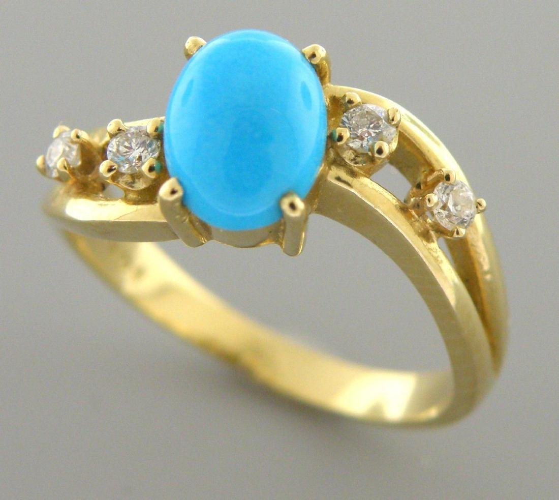 14K YELLOW GOLD DIAMOND AND TURQUOISE LADIES RING